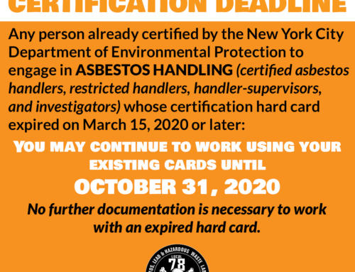 NYC Asbestos Certification Deadline Extended to October 31