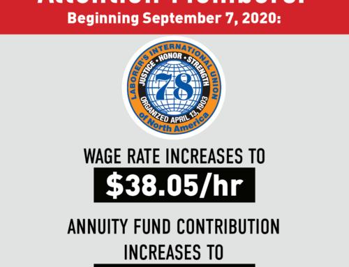 Wage & Benefit Increase Beginning September 7, 2020