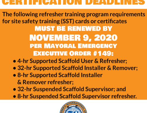 Scaffold Cards Must Be Renewed By Nov. 9