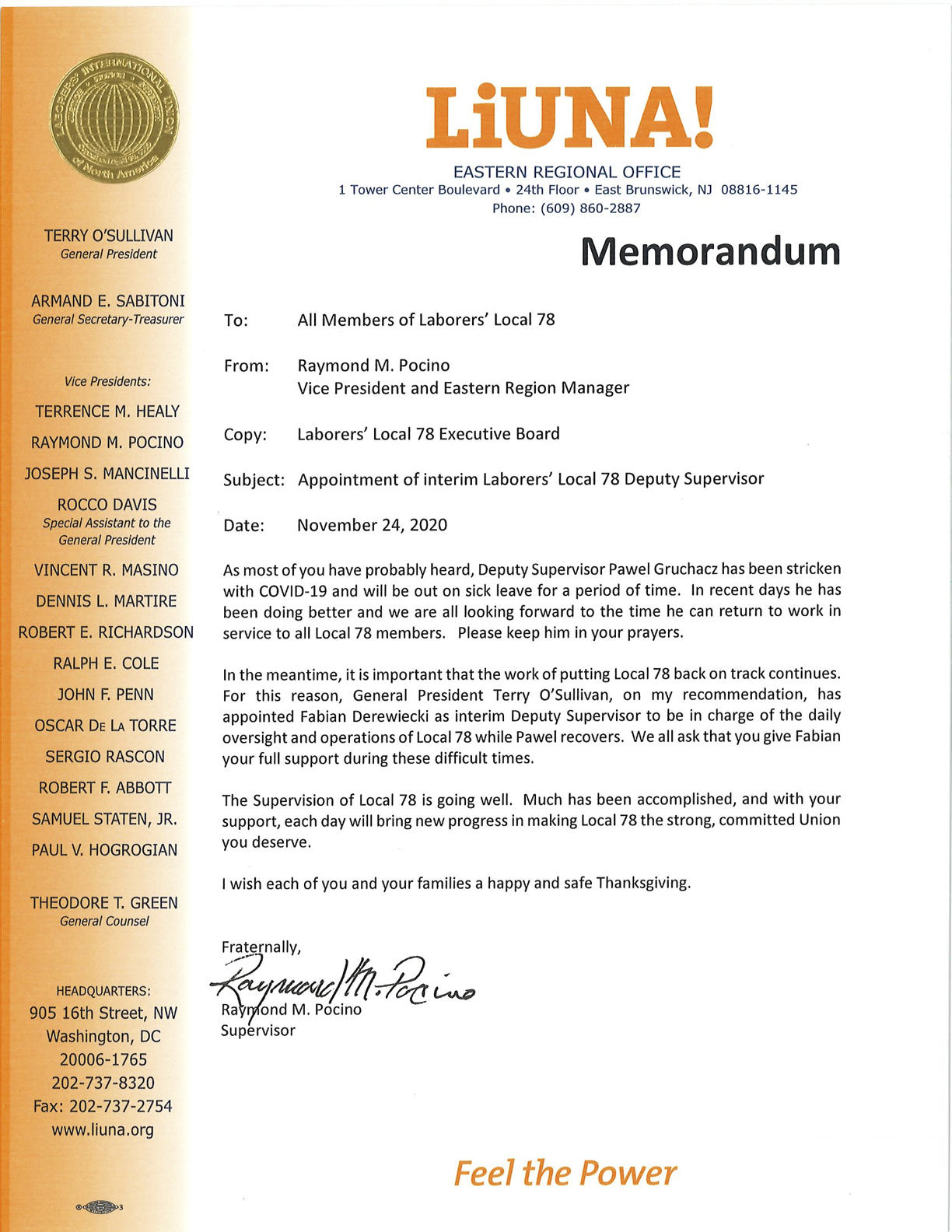 Appointment of Interim Laborers' Local 78 Deputy Supervisor