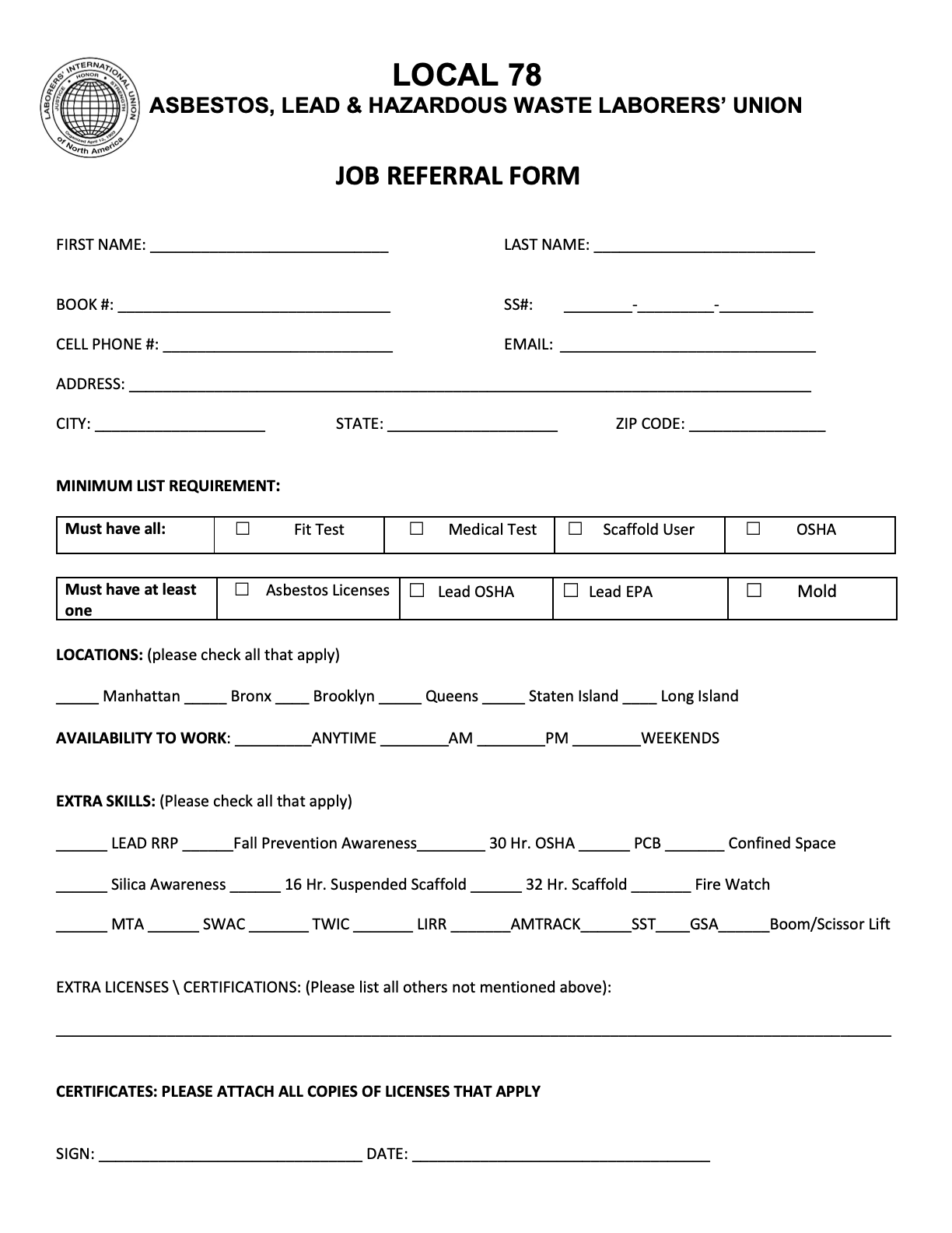 Local 78 Hiring Hall Rules