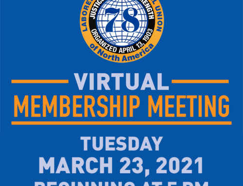 Local 78 March Virtual Membership Meeting Information
