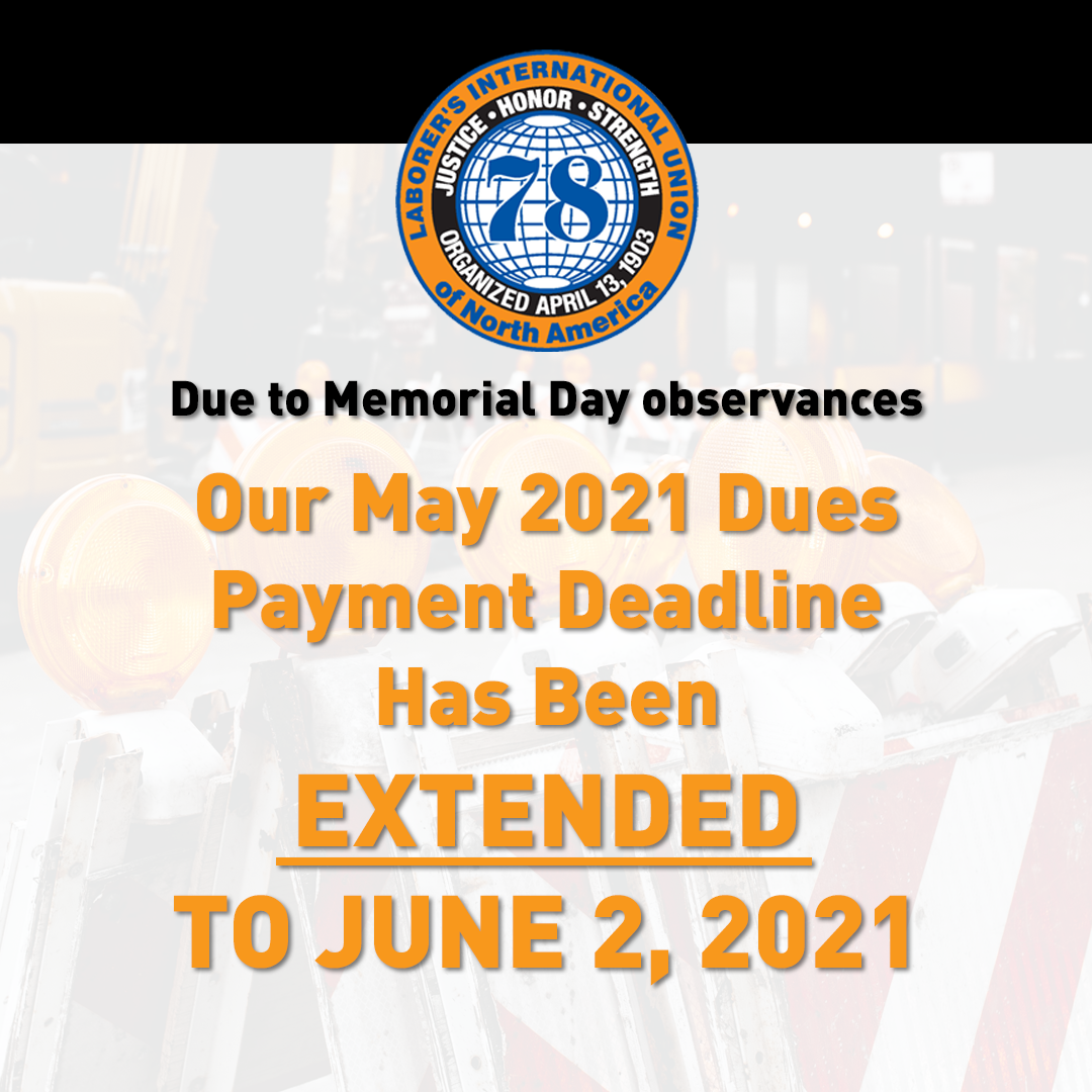May 2021 Dues Payment Extension