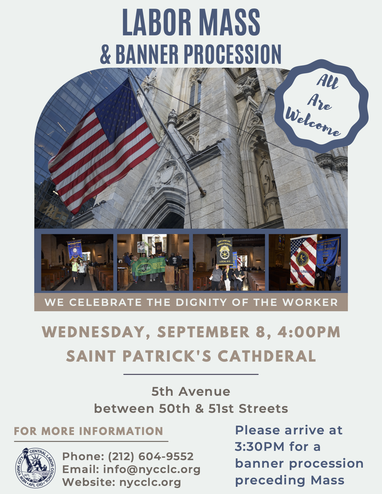 Join Us at the Annual Labor Mass & Banner Procession Sept. 8
